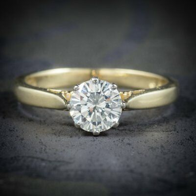 Diamond Solitaire Engagement Ring 18ct Gold Dated London 1991