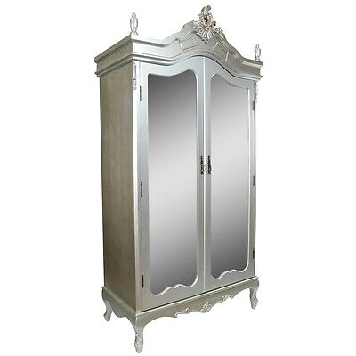 Shabby Chic Rococo Style French Silver Mahogany Double Armoire Mirror Door
