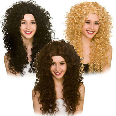 Long Curly Wig Ladies Fancy Dress 1980s Disco Diva Perm Adults Costume Accessory