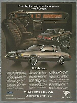 1983 MERCURY COUGAR advertisement, Mercury ad, Cougar coupe,