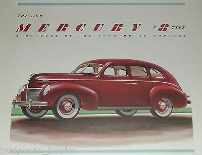 1939 Mercury advertisement, MERCURY 8 SEDAN, color art, Ford Motor Co.