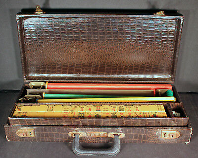 Vintage Mah Jong Set With Hand Carved Catalin Or Bakelite Tiles 5 Trays And Case