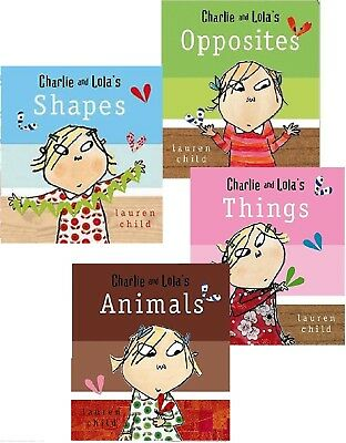 NEW x 4 CHARLIE AND LOLA ( BOARD BOOKS) ANIMALS OPPOSITES THINGS SHAPES
