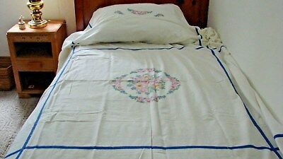 1930s 40s VINTAGE HAND EMBROIDERED DECO COTTON BEDSPREAD