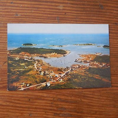 Vintage Postcard Corea Village And Harbor From The Air, Maine, Lobster Boats