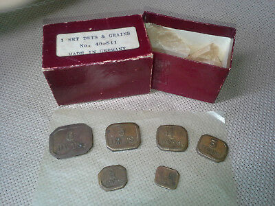 Vintage Apothecary Gold Scale, 2 Sets Matched Weights Dwts, Grains, Original Box