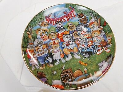 Ltd Ed Bill Bell Cat Plate PURRFECT POPS Father's Day - Franklin Mint