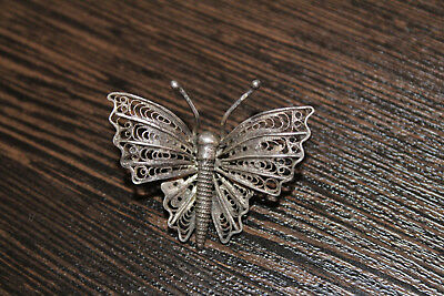 """Antique Imperial Russian silver 84 BROOCH """"BUTTERFLY"""" 19th century"""