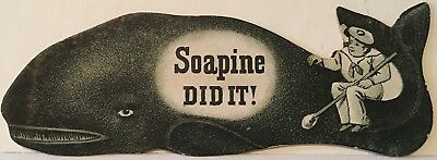 Sailor Sits On Tail Of Die Cut Whale ~ Soapine Did It ~ Soapine Trade Card
