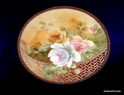 Antique Nippon Noritake Basket of Roses Moriage Plaque Charger Plate
