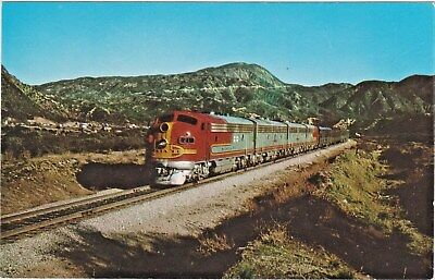 "Santa Fe ""Super Chief"" Streamliner in Southern California - Fred Harvey Postcard"