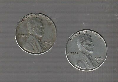 1943P + 1943D   LINCOLN CENTS  /  nice  HI GRADE STEEL CENTS  #92410 RS COINS