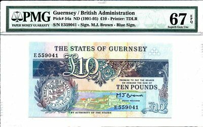 British Administration Guernsey  10 Pounds ND(1991-95)  PMG  67EPQ