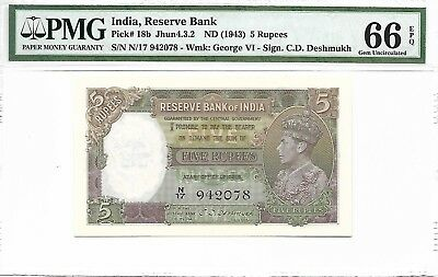 India / Reserve Bank - 5 Rupees, nd (1943). PMG 66EPQ. Scarce.