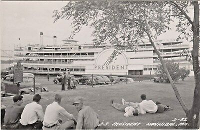 S. S. President Mississippi River Steamboat in Hannibal, Missouri - 1940's Photo