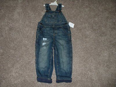 OshKosh Overalls Boys 4T Navy Fleece Lined Denim Size 4 Toddler Winter BGosh NWT