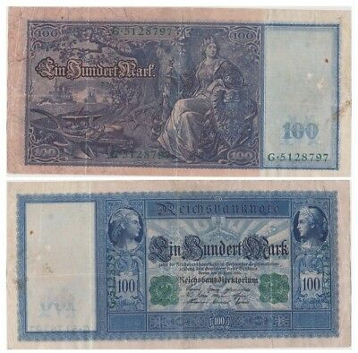 1oo Marks German banknote issued in 21.04.1910 G vf green color serial number