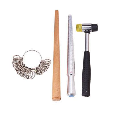 1 Set Ring Sizer Stick Mandrel Finger Gauge Hammer Measuring Jewelry Tools