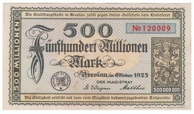 5oo Millions Marks German Kreisnotgeld issued 1923 by Breslau stadt vf