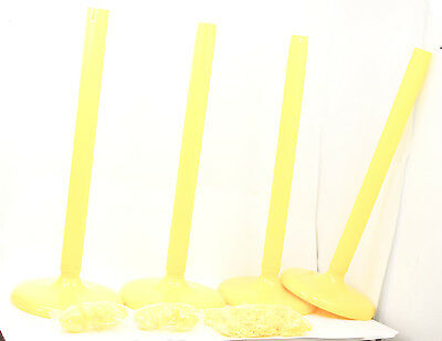 PLASTIC STANCHION IN YELLOW + 32' CHAIN, 4 PCS w/ C-Hook