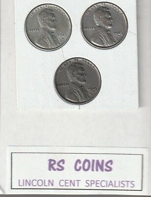 1943D  x 3   LINCOLN  CENTS /  all  3  ALMOST UNCIRCULATED  #91428 RS COINS