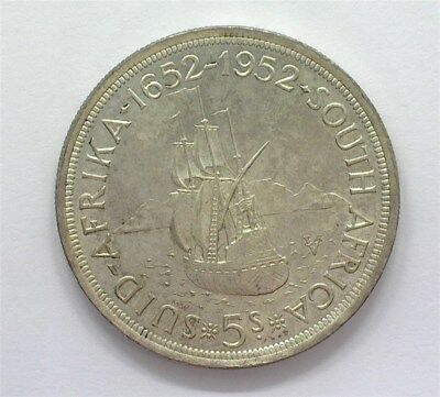 South Africa 1952 Silver 5 Shillings Near Gem Uncirculated