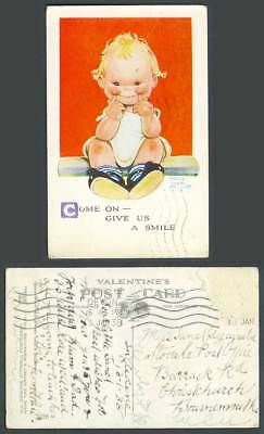 MABEL LUCIE ATTWELL 1938 Old Postcard Come On Give us a Smile Girl Children 3528