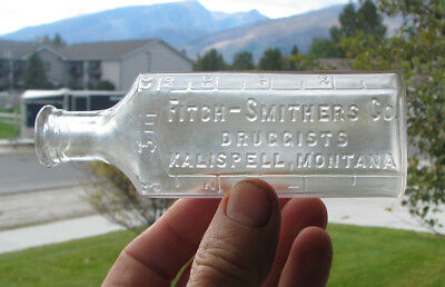 3 oz. old KALISPELL, MONTANA / FITCH SMITHERS CO. DRUGGISTS medicine bottle