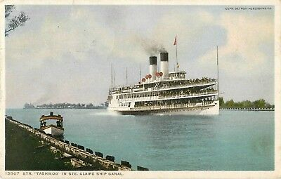 1918 Steamer Tashmoo In St Clair Ship Canal, Michigan Postcard
