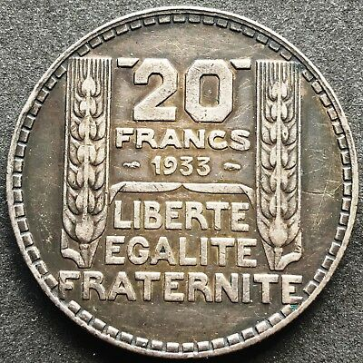 1933 France 20 Francs 68% Silver Coin - Great Condition