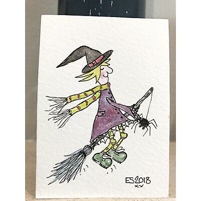 ACEO Original miniature by Eleanor Sarah - Witch On A Broomstick