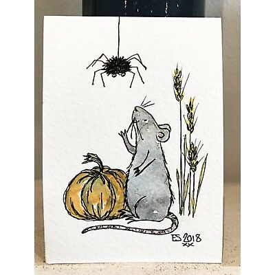 ACEO Original miniature by Eleanor Sarah - Field Mouse Big Spider