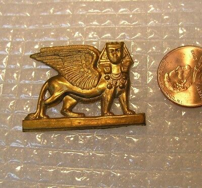 Vintage BRASS  METAL  Art DECO   Egyptian REVIVAL  WINGED  SPHINX   Finding