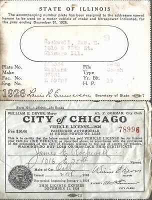 1926 Vehicle License Chicago and Illinois Plate Receipt OAKLAND Automobile