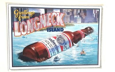 "Budweiser Mag Ad Greetings From Longneck Island Postcard Oversized 6 3/4"" X 10"""