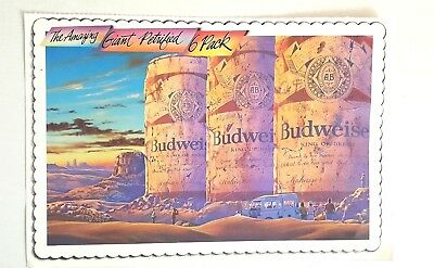"Budweiser Mag Ad The Amazing Giant Petrified 6 Pack Over Sized Postcard 6 3/4"" X"
