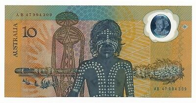 Australia $10 ND 1988 Polymer Note 2nd Issue aUNC Note AB47 994309