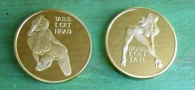 Heads I get Tail, Tails I get Head. Adult Novelty Coin Token Gold Finish