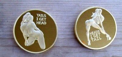 Heads I get Tail, Tails I get Head. Adult Novelty Coin Token Silver Finish
