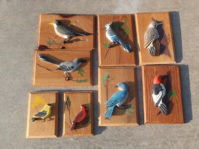 Vintage SET of 8 Wood Bird WALL PLAQUES HANGINGS Carved Painted Wooden BIRDS NR