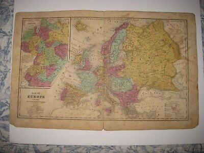 Superb Antique 1844 Europe Handcolored Map Russia Poland Prussia Germany Italy