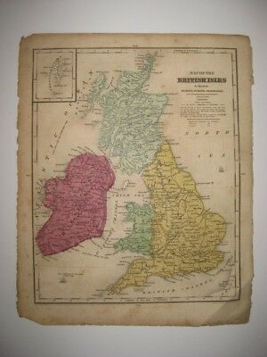 Superb Antique 1844 England Ireland Scotland Wales British Shetland Isles Map Nr