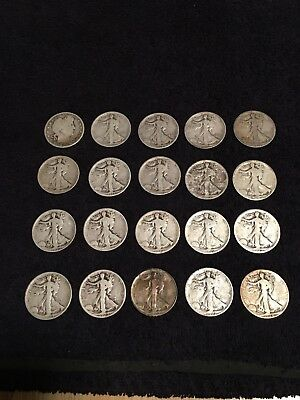 Roll Of Pre-1929 Walking Liberty Barber 90% Silver Half Dollars 20 Coins Total