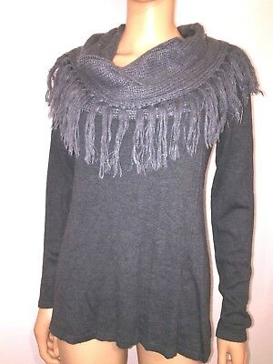 bf731f321b ROMEO & JULIET COUTURE Women's S GRAY Fringe Cowl Neck Turtleneck Sweater  Top p