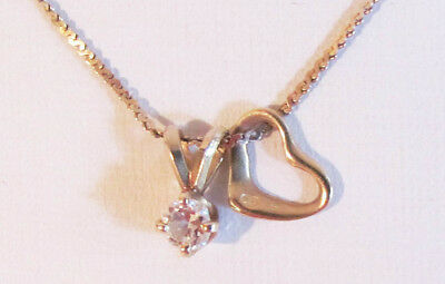 """Sweet 20"""" 14K Gold Serpentine Chain Necklace With 1/4 ct Diamond & Heart Charm"""