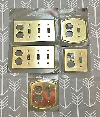 NOS Lot of 5 Vintage Baldwin Solid Brass Toggle Switch Plate & Outlet Cover