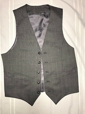 MENS  Victorian Edwardian Sherlock Holmes Dickens plaid VEST size S 36