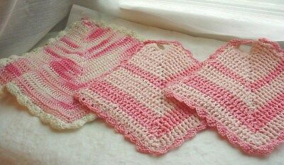 Vtg Pink Hot Pads Potholders Lot of 3 Crocheted with Scalloped Edges
