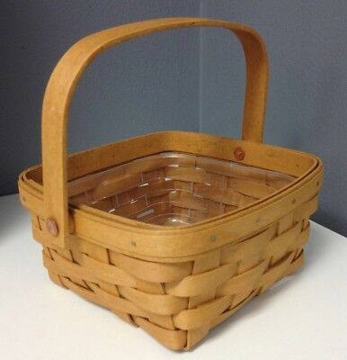 LONGABERGER 2005 Square Wood Wicker Basket With Handle And Plastic Protector SR