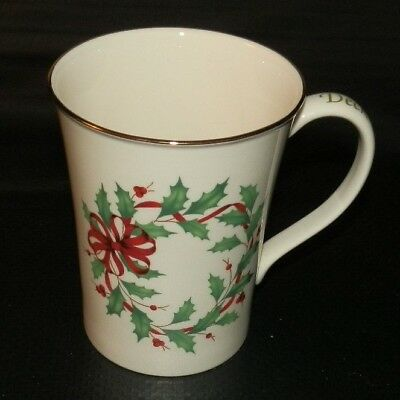 NEW Lenox Holiday Warmest Wishes Mug Cup Deck the Halls Holly Berries Gold Rim